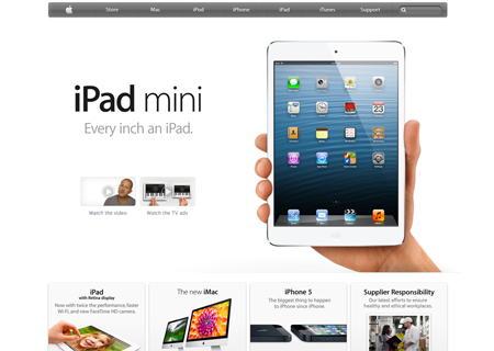 Apple website homepage