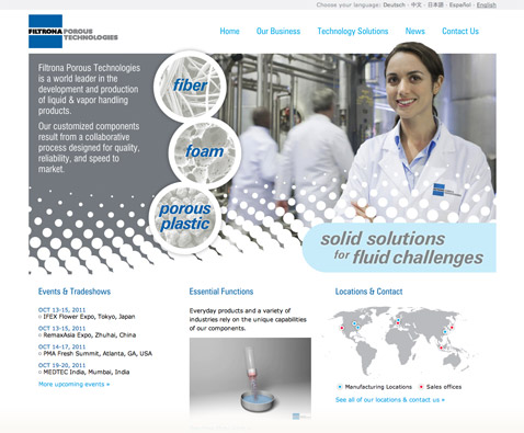 Filtrona Porous Technologies homepage