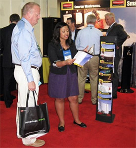 Conversation at a trade show booth