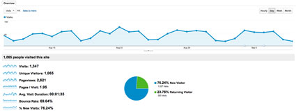 Google analytics snapshopt