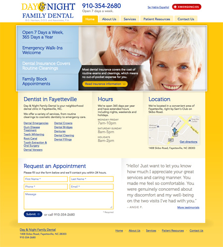Photo of the Day and Night Family Dental homepage
