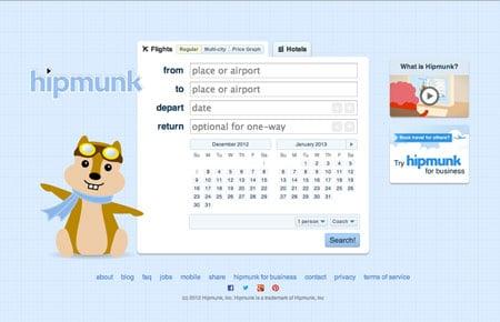 Hipmunk homepage