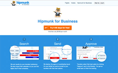 Hipmunk landing page for business travelers