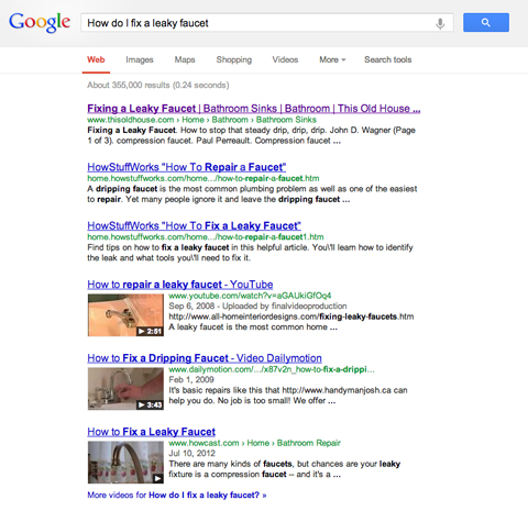 Google search results page for fixing a leaky faucet