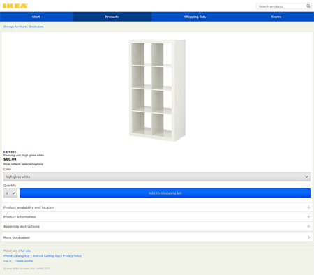 ikea mobile website screenshot