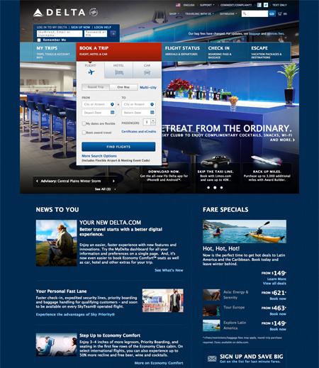 Website for Delta Airlines