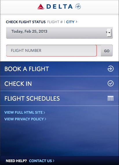 Mobile website for Delta