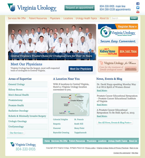 New Virginia Urology homepage