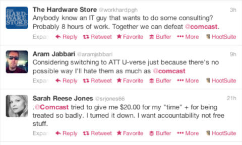 Comcast social media feed