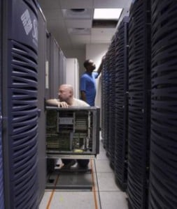 IT pros in the server room