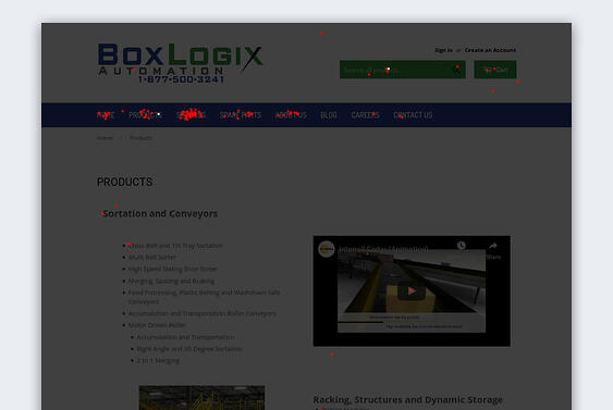 Screenshot of a clickmap of one of BoxLogix Automation's old web pages