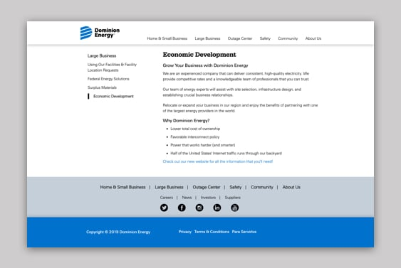 Screenshot of the Economic Development page on the Dominion Energy website