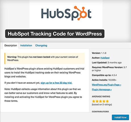 HubSpot Tracking Code Plugin for Wordpress