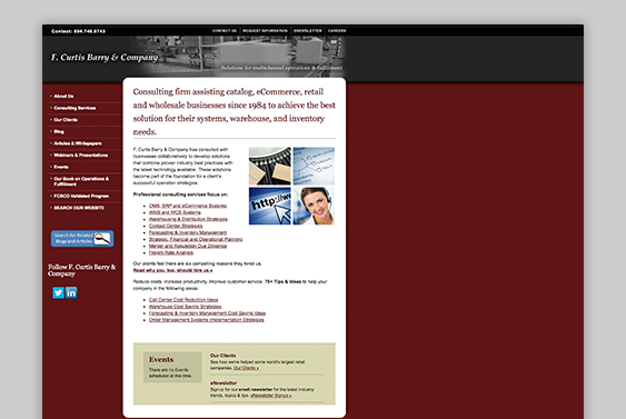 Screenshot of previous version of F. Curtis Barry & Company website
