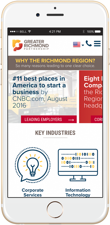 Greater Richmond Partnership website as shown in mobile view on an iPhone