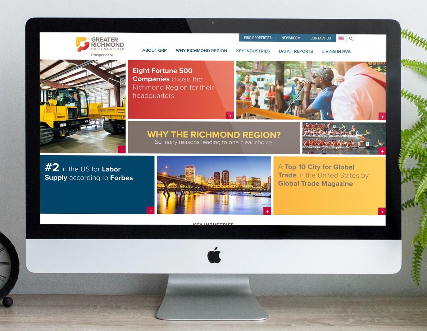 Greater Richmond Partnership website as shown on a desktop computer