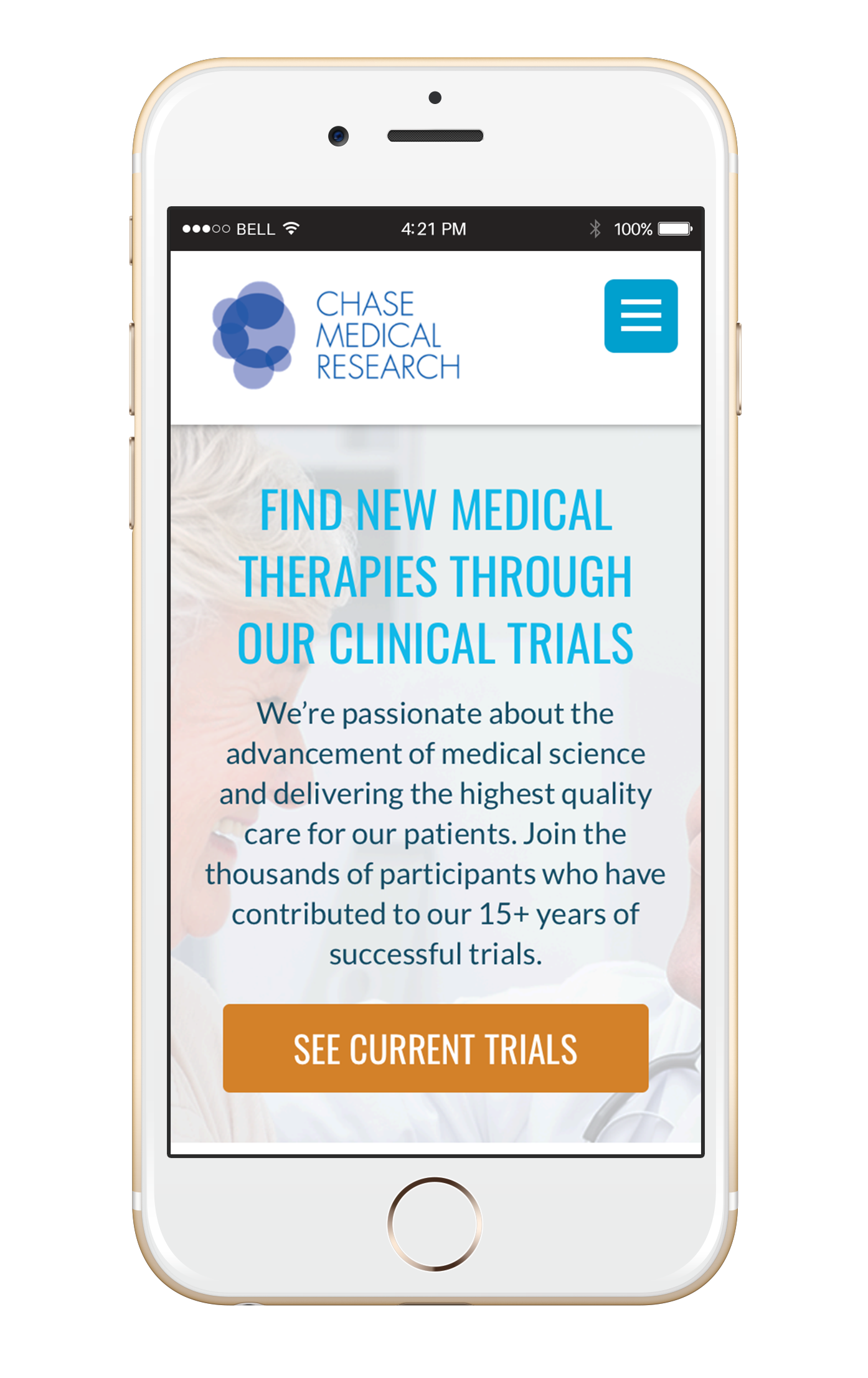 Chase Medical Research website as shown in mobile view on an iPhone