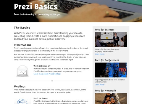 Screenshot of Prezi website that shows content sections