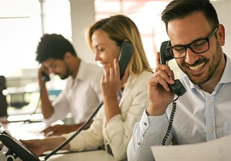 Sales rep calling leads