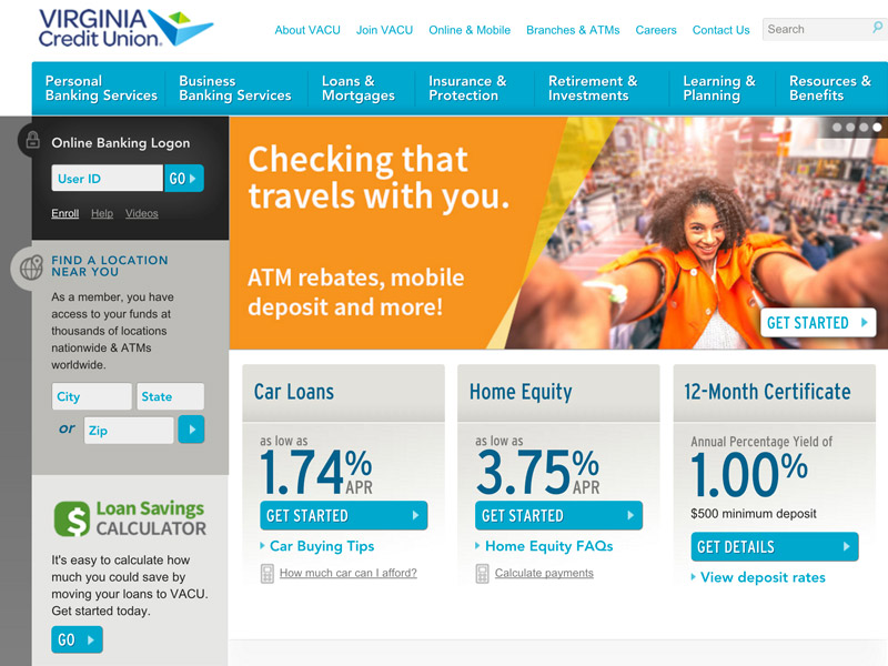 Virginia Credit Union homepage