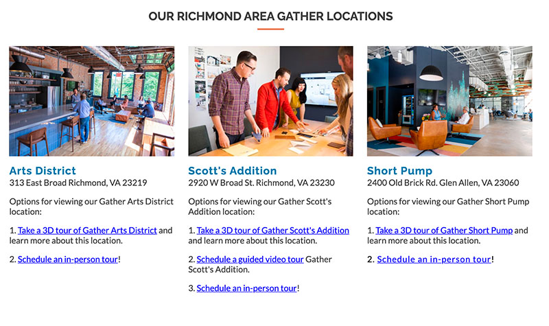 Screenshot of Gather Workspaces website listing Richmond area locations and tour options