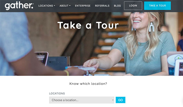 Screenshot of the Gather Workspaces website - tour page