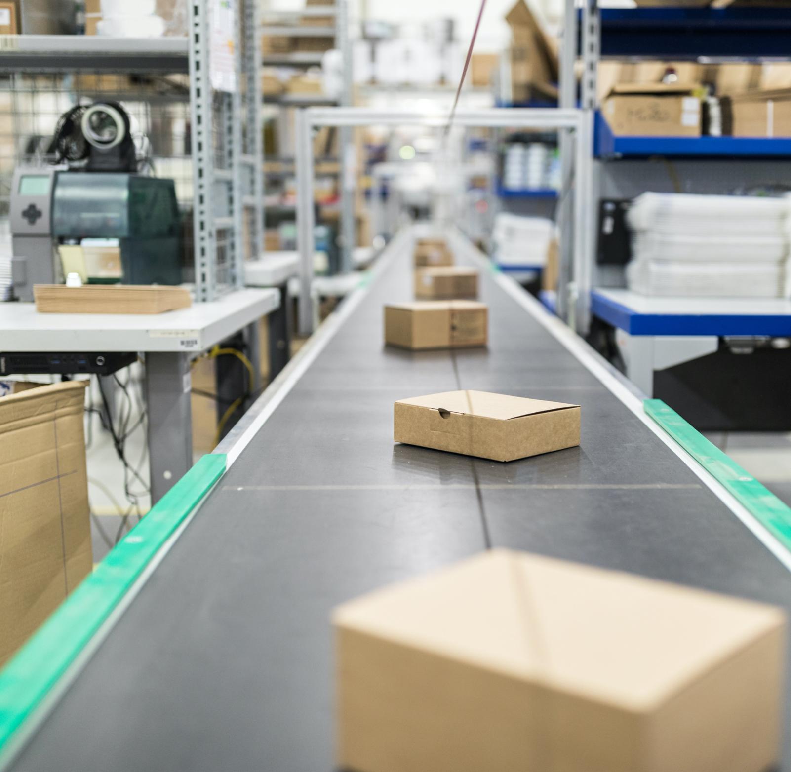 Photo of boxes on conveyor belt