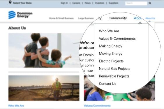 Screenshot highlighting the navigation menu