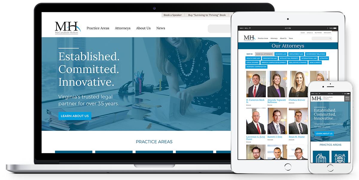McCandlish Holton website viewed on desktop, phone, and tablet.