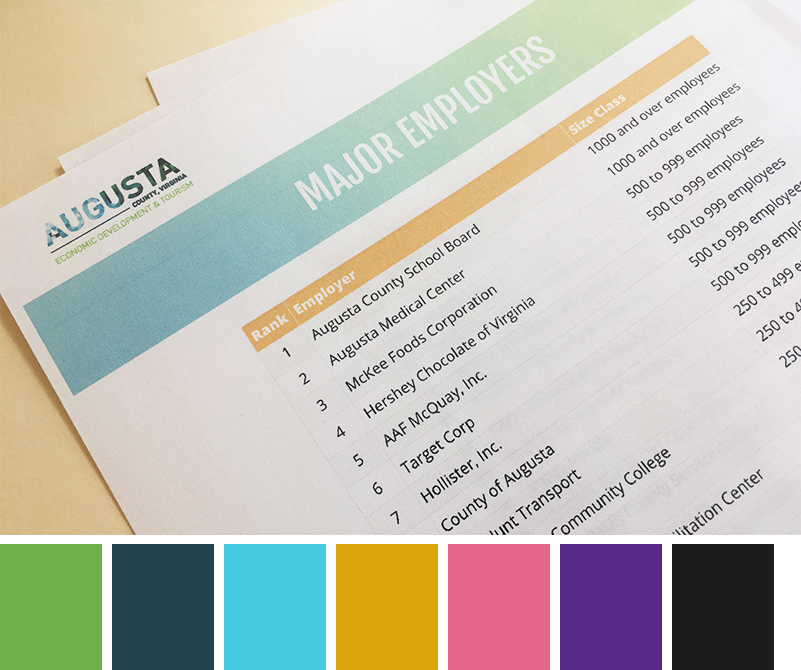 Augusta County branding guidelines and color pallette.