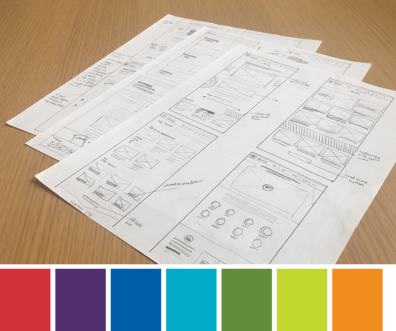 Credo website in wireframes with the color pallete.