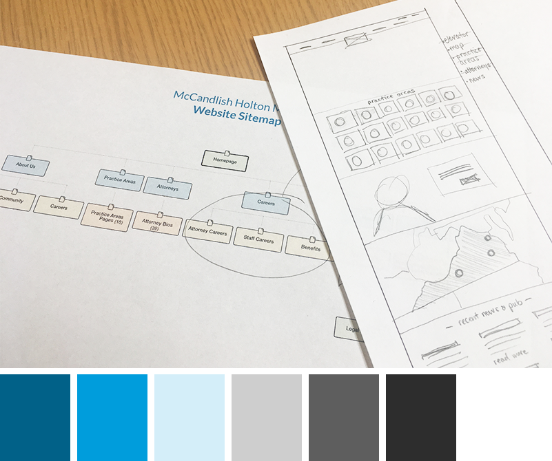 McCandlish Holton website being wireframes with color pallette choices.
