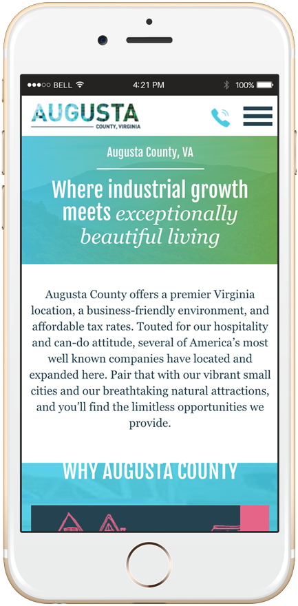 Augusta County's website viewed on an iPhone.