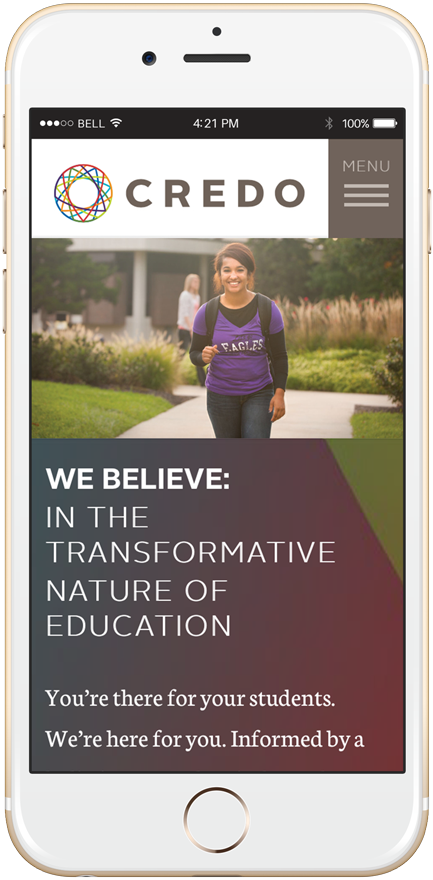 New Credo website viewed on a mobile phone.