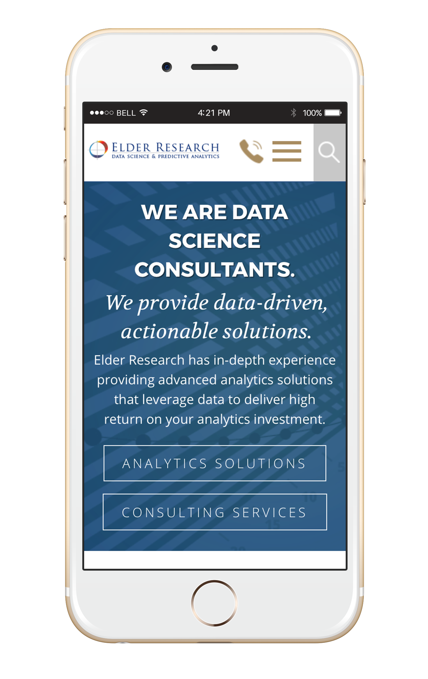 Elder Research website as displayed on a mobile phone