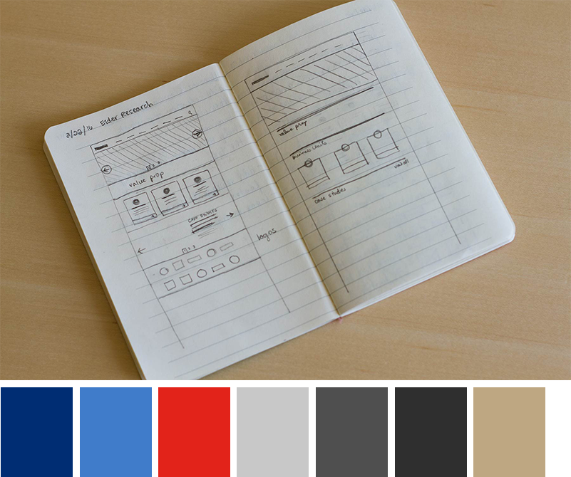 Elder Research wireframe sketches and color palette